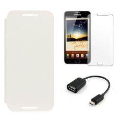 Shop or Gift LG Google Nexus 5 Flip Cover (White) Plus Screen Guard Plus OTG Cable Online.