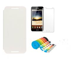 Shop or Gift Motorola Moto X XT1058 Flip Cover (White) Plus Screen Guard Plus Flat Noodle Data Cable Online.