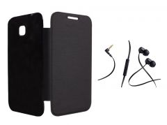 Lenovo A536 Black Flip Cover with Incredible Smartphone Headset with Mic