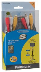 Panasonic Electronics - Panasonic S Video Cable 2xRCA Stereo Cable, 5m ,RP_CVS3G50GK