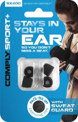 Electronic Accessories - Comply Sx-400 Sport Plus Earphone Tips w/Sweat guard (Medium, Black, 2-pair)