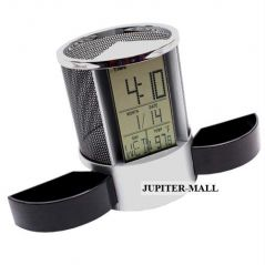 DIGITAL ALARM TABLE CLOCK PEN HOLDER STAND P02