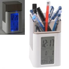 Digital Voice Control Back-Light LCD Alarm Date Temperature Pen Holder Clock (Code - AL CK 296)