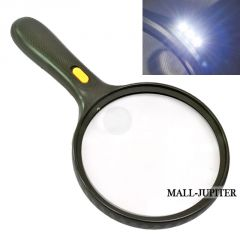 JUMBO SIZE 1.8X132mm & 5X25mm 3 LED Magnifier Magnifying Glass Microscope -
