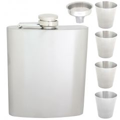 07 oz STAINLESS STEEL Drinks Hip Wine Flask Screw Cap Cups & Funnel - 81