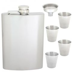 09 oz STAINLESS STEEL Drinks Hip Wine Flask Screw Cap Cups & Funnel - 83