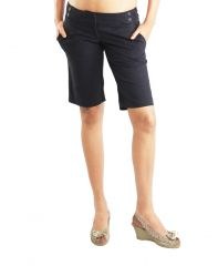Blue Super Solid Women's Bermuda Shorts