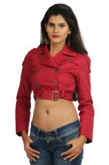 Chic Unique Full Sleeve Solid Women's Red Short Jacket