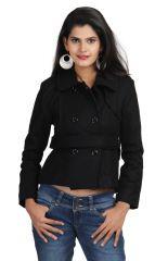 Chic Unique Full Sleeve Solid Women's Woolen Jacket Black