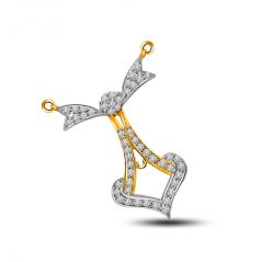 Surat Diamond Two Tone Anchor Diamond & Glittering Gold Pendant DN186