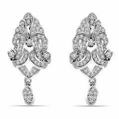 Surat Diamond 1.00 cts White Gold Diamond Hanging Earrings ER396