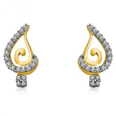 Surat Diamond Star Bunch Stick 0.38CT Two Tone Gold & Diamond Earring for Lady Love ER426