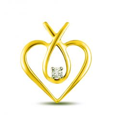 Surat Diamond 0.025 cts Heart Shape Diamond Pendant P1079