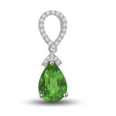 Surat Diamond Green Drop Beauty 1.23 TCW Stunning Emerald And Diamond Pendant P1157