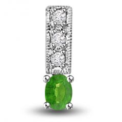Surat Diamond Three Sparkling Strands of Emerald 0.25 TCW Emerald And Diamond Pendant In White Gold P1163
