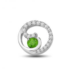 Surat Diamond Green World 0.37 TCW Emerald And Diamond Pendant In White Gold P1173