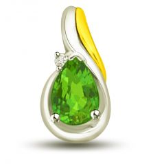 Surat Diamond Emerald Drop 1.015 TCW Stunning Two Tone Emerald And Diamond Pendant P1175