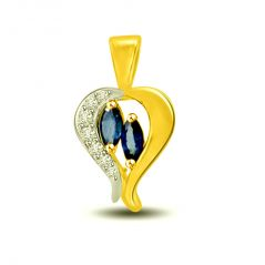 Surat Diamond Umbrella Heart: Diamond & Sapphire Pendant for Your Love P1253