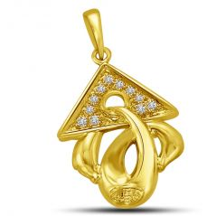 Surat Diamond Triangle Top with Diamond on Gold Twist Pendant for Her P866