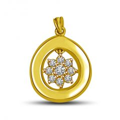 Surat Diamond Shinning Star in Circle Diamond & Gold Pendant for my North Star P874