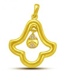 Surat Diamond You Ring Bells Of Love In My Heart Diamond & Gold Pendant P901