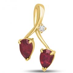 Surat Diamond Two to Tango Diamond & Ruby 18k Gold Pendant P957