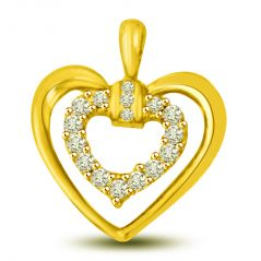 Surat Diamond 0.16 cts Heart Shape Diamond Pendant P964