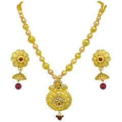 Surat Diamond Drop Shaped Colored Stone, Shell Pearl and Gold Plated Pendant Necklace & Earring Set for Women PS516