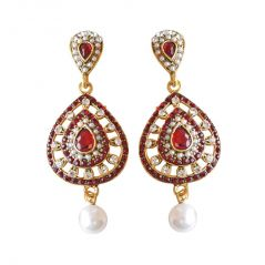 Surat Diamond Drop Shaped Red & White Coloured Stone, Shell Pearl & Gold Plated Chand Bali Earrings PSE14