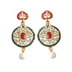 Surat Diamond Round Shaped Red, Green & White Coloured Stone, Shell Pearl & Gold Plated Chand Bali Earrings PSE15
