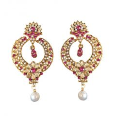Surat Diamond Trendy Pink & White Coloured Stone, Shell Pearl & Gold Plated Chand Bali Earrings PSE21