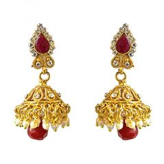 Surat Diamond Traditional Drop Shaped Red & White Coloured Stone & Gold Plated Copper Jhumki