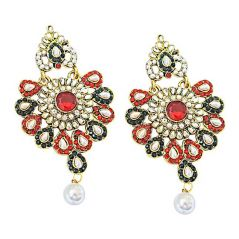 Surat Diamond Floral Shaped Red, Green & White Coloured Stone Chandbali Earrings PSE46