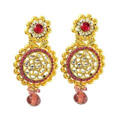 Surat Diamond Beautiful Pink & White Coloured Stone & Gold Plated Round Shaped Chandbali Earrings PSE48