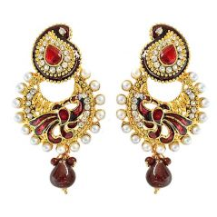 Surat Diamond Ethnic Peacock Motif, Maroon Enamelled, Red & white Coloured Stone Chandbali Earrings PSE50