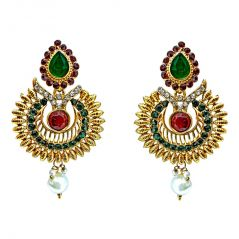 Surat Diamond Ethnic Drop Shaped Red, Green & White Stone Gold Plated hanging Earrings for Women PSE5