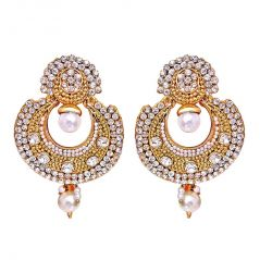 Surat Diamond Traditional Round Shaped White Stone & Gold Plated Dangling Fashion Earrings for Women PSE7