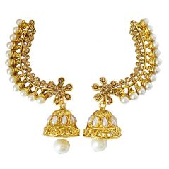 Surat Diamond Floral Shaped Colored Stone and Gold Plated Ear Cuffs with Zumki for Women PSE83