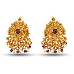 Surat Diamond Pearl  Garnet Grace Earrings  SE36