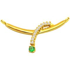 Surat Diamond - Diamond & Emerald Necklace Pendant Dn47 - Dn47 - Fine Jewellery & Coins