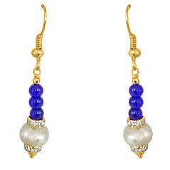 Surat Diamond - Dangling Real Pearl & Blue Stone Earrings - SE209