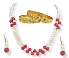 Surat Diamond - Two Line Pearl & Red Beads Set with Bangles -PS79 + 4 bangles