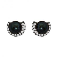 Surat Diamond 1.25ct Real Diamond & Tahitian Black Pearl Earring In 925 Silver SDE4