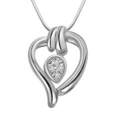 Surat Diamond Candy Heart - Real Diamond & Sterling Silver Pendant With 18 Inch Chain