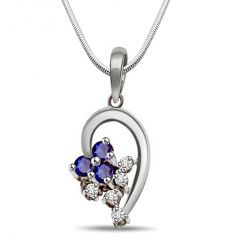 Surat Diamond Bunch of Stars - Sapphire, Real Diamond & Sterling Silver Pendant with 18 IN Chain SDP171
