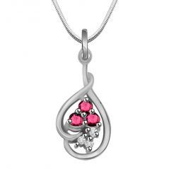 Surat Diamond Trinking Love - Real Diamond, Red Ruby & Sterling Silver Pendant With 18 Inch Chain