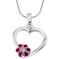 Surat Diamond Flower In My Heart Real Diamond, Red Ruby & Sterling Silver Pendant With 18 IN Chain SDP294