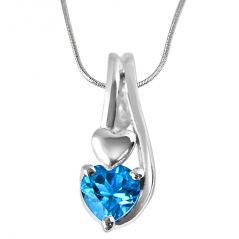 Surat Diamond Ocean Wonders Heart Shaped Blue Topaz Set In Sterling Silver Pendant With 18 IN Chain SDP301