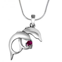 Surat Diamond Whistling Dolphins Red Ruby & Sterling Silver Pendant with 18 IN Chain SDP314