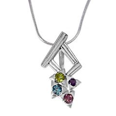 Surat Diamond Dancing Feet Amethyst, Topaz, Peridot, Rhodolite & 925 Sterling Silver Pendant with 18 IN Silver Finished Chain SDP391
